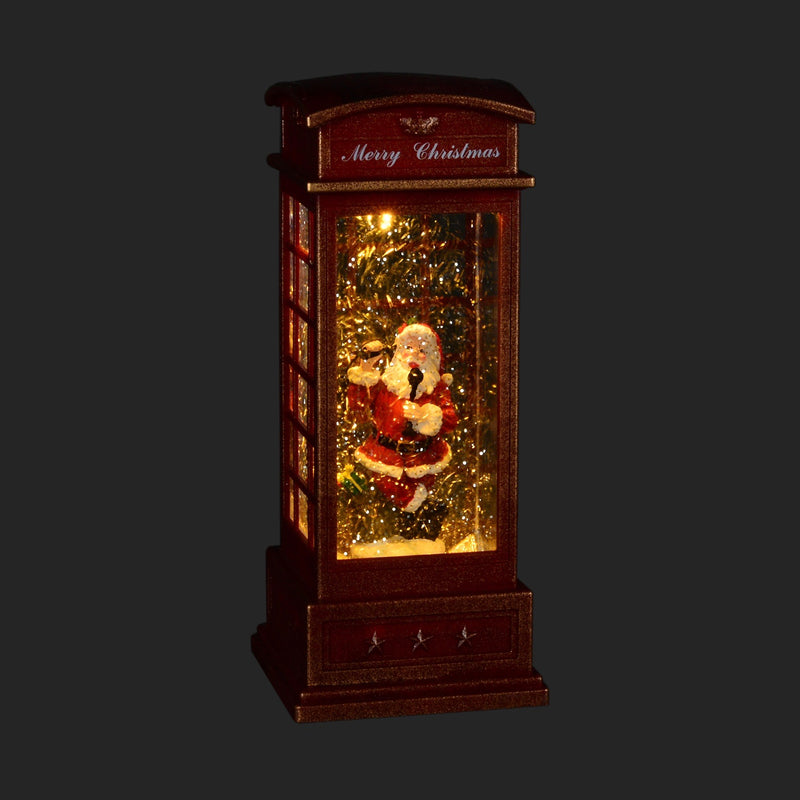 Perpetual Snow Santa in British Phone Booth with Light | Putti Christmas