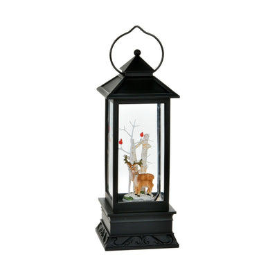 Reindeer Perpetual Swirl Snow Black Lantern with Light | Putti Christmas