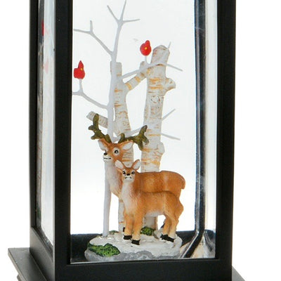 Reindeer Perpetual Snow Black Lantern with Light | Putti Christmas Shop Canada