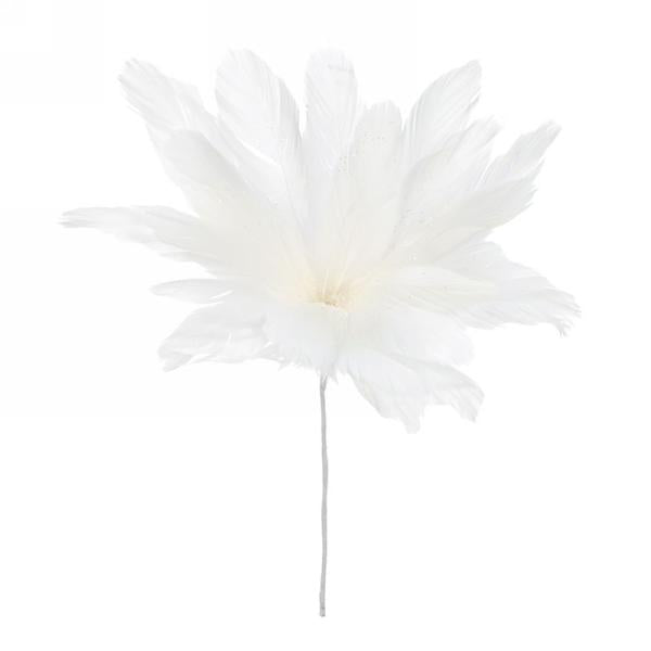 White Feather Flower Stem | Putti Christmas