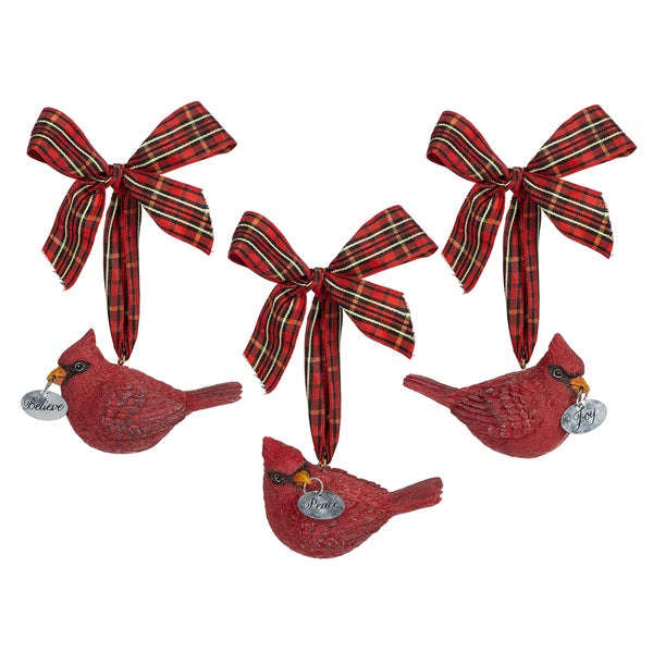 Cardinal with Tartan Bow Ornament | Putti Christmas Celebrations
