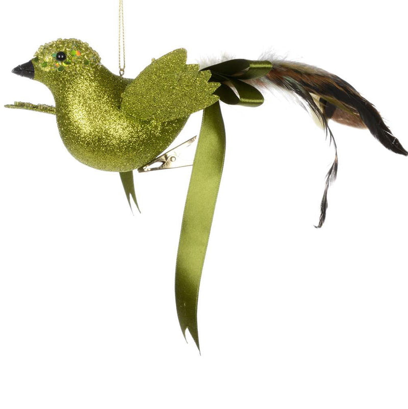 Green Glitter Bird with Bow, CT-Christmas Tradition, Putti Fine Furnishings