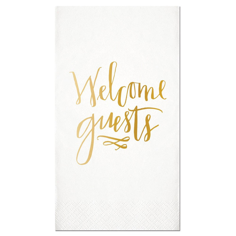 """Welcome Guests"" Gold Foil Paper Guest Towel, SC-Slant Collections, Putti Fine Furnishings"