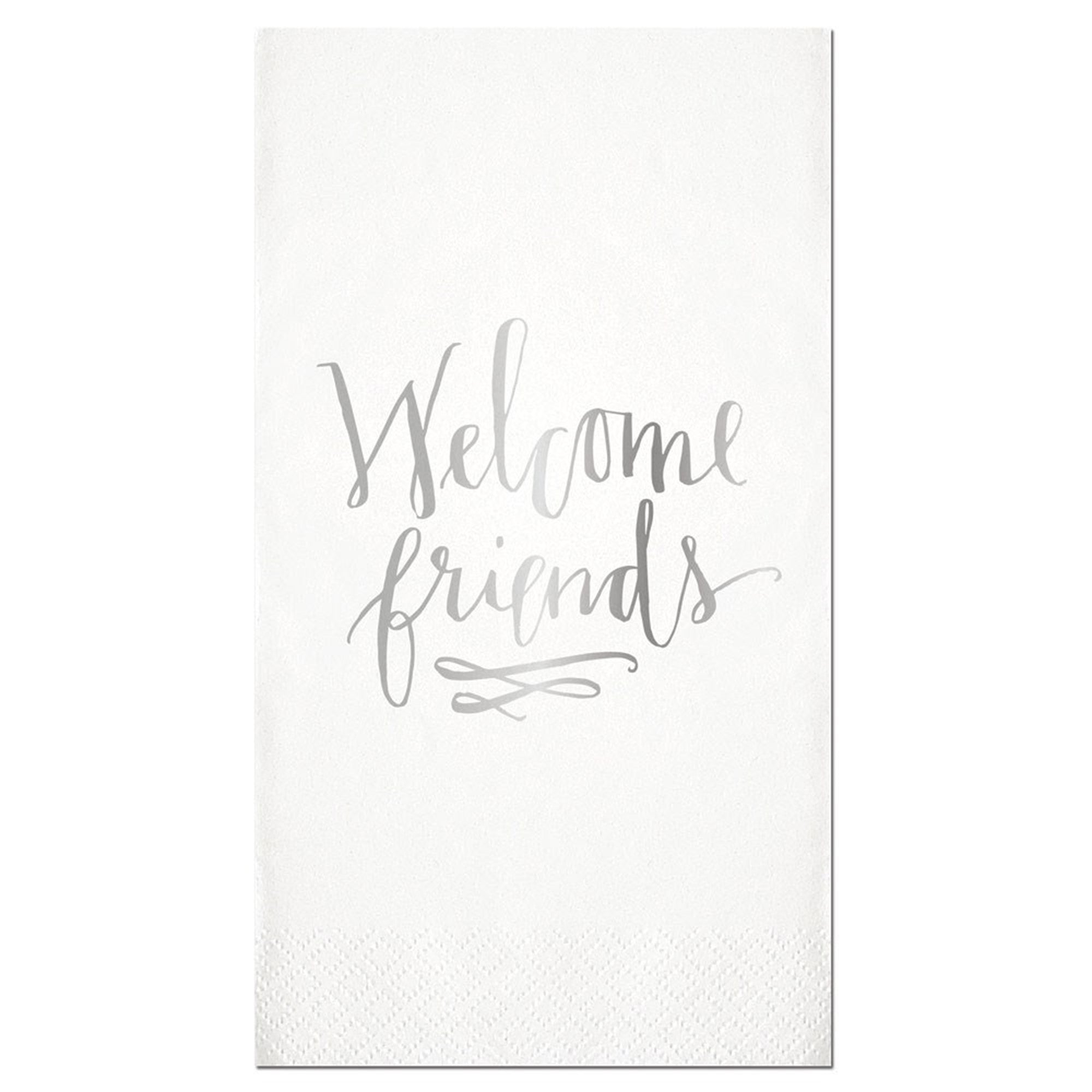 """Welcome Friends"" Silver Foil Paper Guest Towel, SC-Slant Collections, Putti Fine Furnishings"