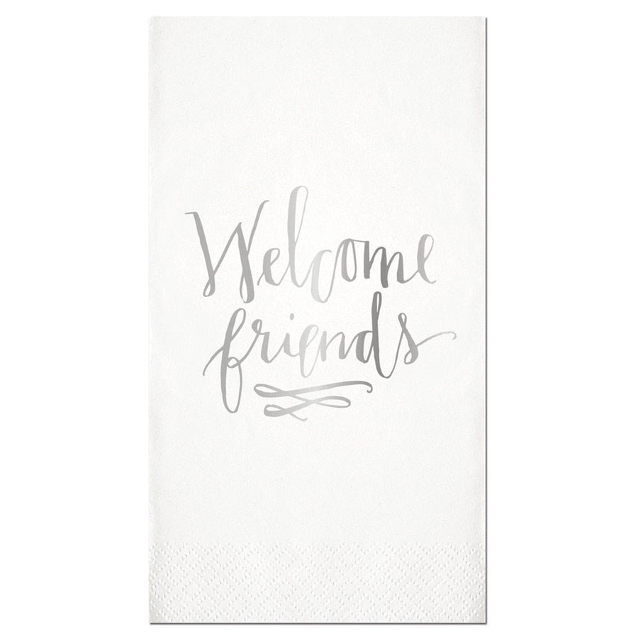 """Welcome Friends"" Silver Foil Paper Guest Towel"
