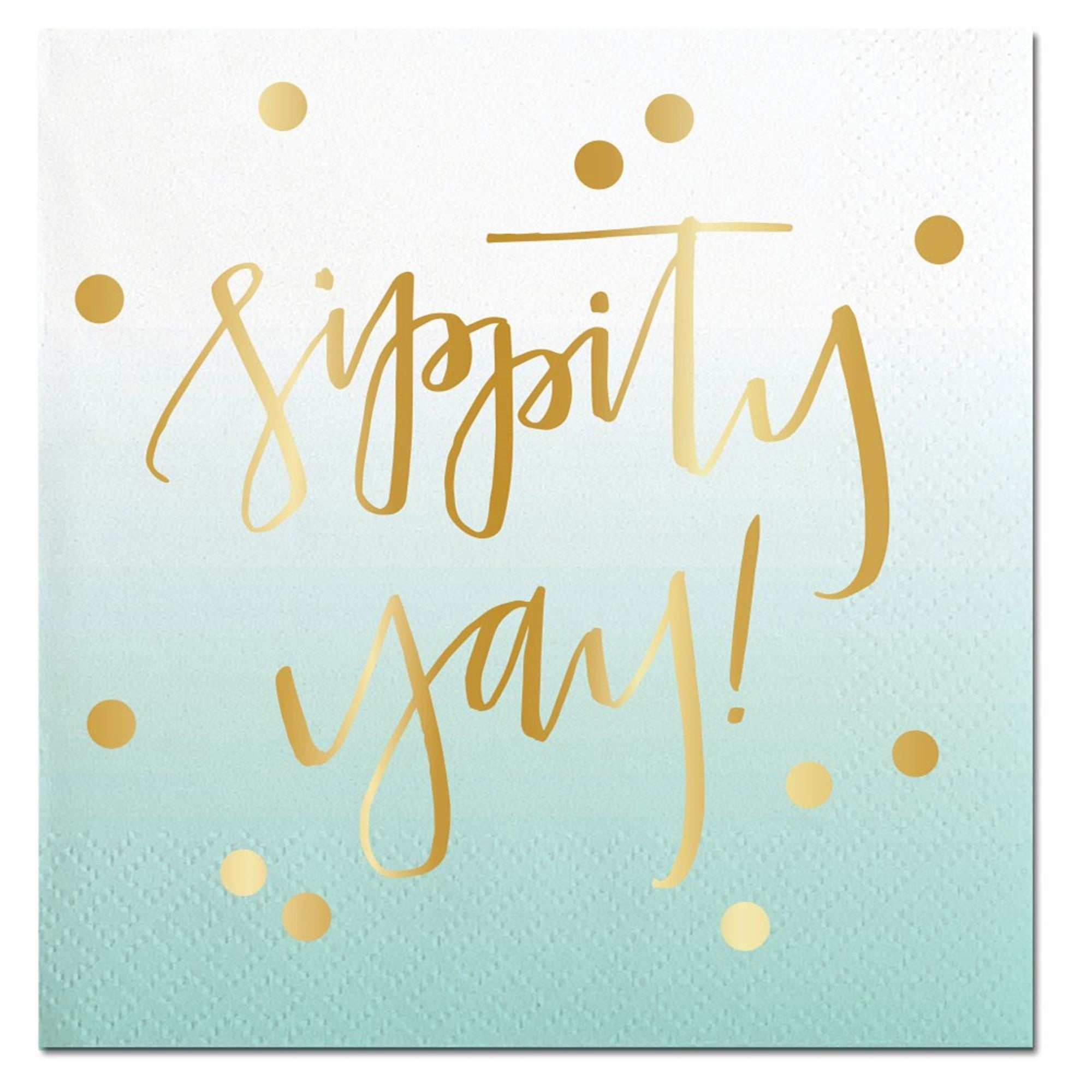 """Sippity Yay"" Aqua Ombre Paper Napkins - Beverage, SC-Slant Collections, Putti Fine Furnishings"