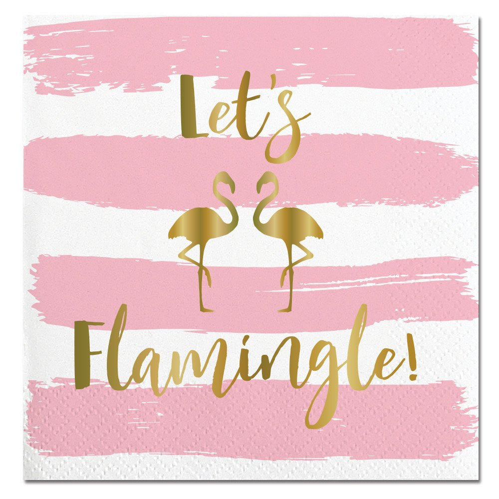 """Let's Flamingle"" Paper Napkins - Beverage, SC-Slant Collections, Putti Fine Furnishings"