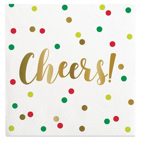 """Holiday Cheers"" Gold Foil Polka Dot Paper Cocktail Napkin"