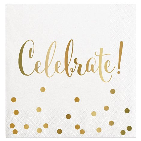 """Celebrate"" Gold Foil Paper Napkins - Beverage"