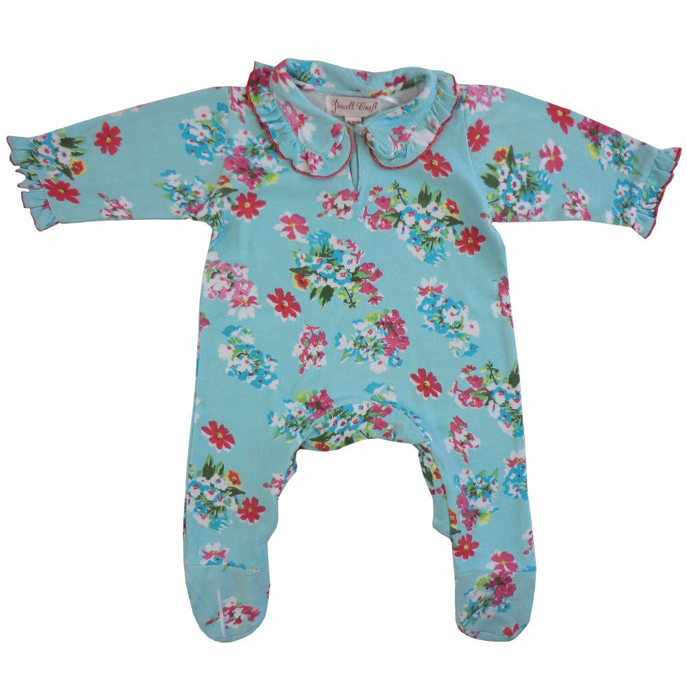 """Blue Floral"" Jumpsuit - 0-6 months ( Special Order 2 weeks ) Children's Clothing - Powell Craft Uk - Putti Fine Furnishings Toronto Canada"