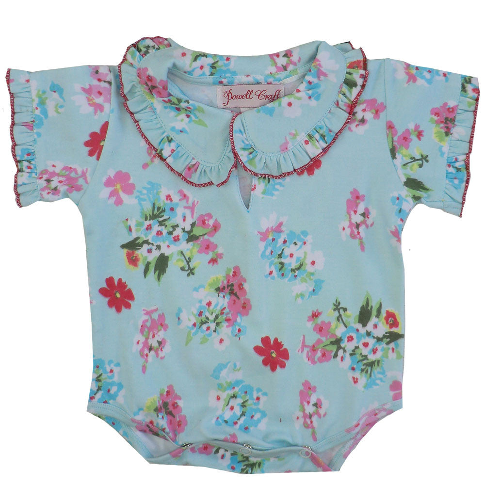 """Blue Floral"" Baby Grow - 0-6 months Children's Clothing - Powell Craft Uk - Putti Fine Furnishings Toronto Canada"