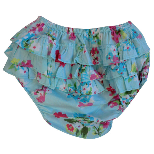 """Blue Floral"" Frilly Nickers-Children's Clothing-PC-Powell Craft Uk-One Size 0-12 months-Putti Fine Furnishings"