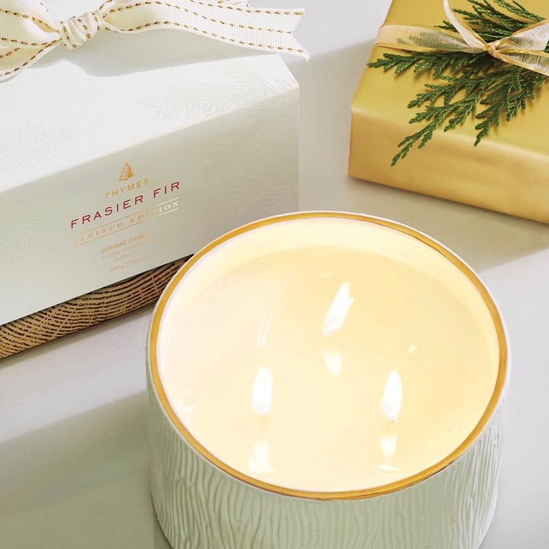 Thymes Frasier Fir Ceramic 3 Wick Candle -  Home Fragrance - Thymes - Putti Fine Furnishings Toronto Canada