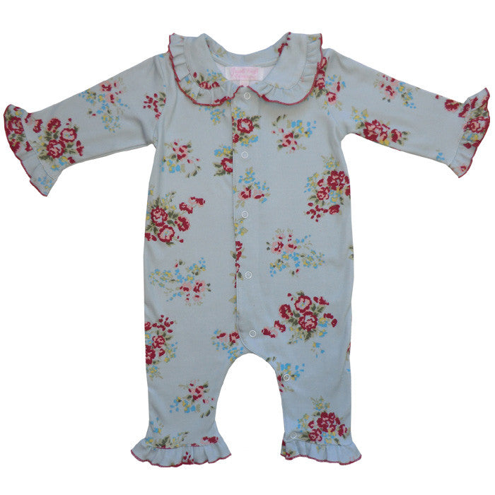 Blue Mixed Floral Jumpsuit-Children's Clothing-PC-Powell Craft Uk-0 to 6 month-Putti Fine Furnishings