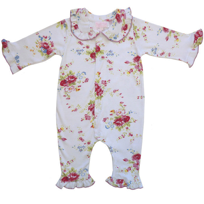 White Mixed Floral Jumpsuit - 0 to 6 month (Special Order 2 weeks) Children's Clothing - Powell Craft Uk - Putti Fine Furnishings Toronto Canada
