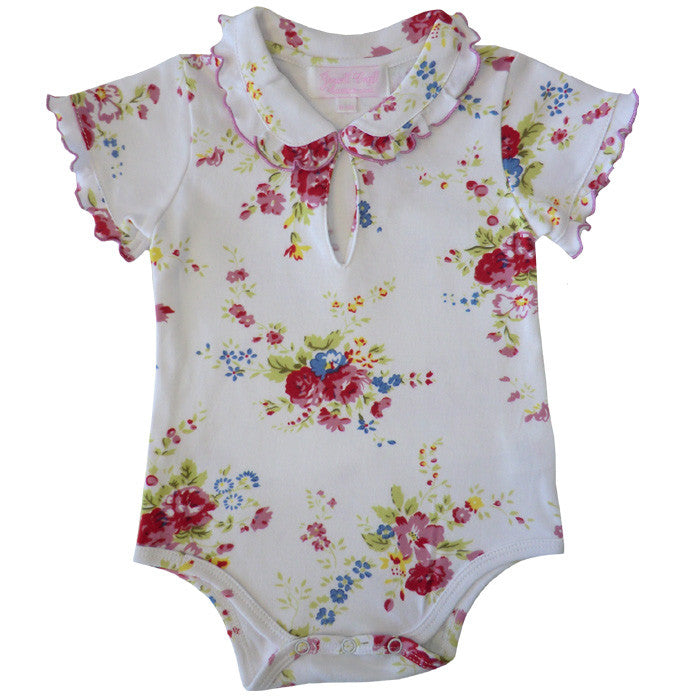 White Mixed Floral Baby Grow-Children's Clothing-PC-Powell Craft Uk-0-6 months (Special Order 2 weeks)-Putti Fine Furnishings
