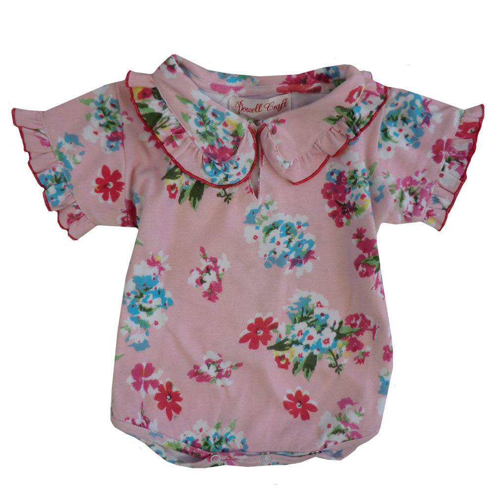 """Pink Floral"" Baby Grow - 0-6 months ( Special Order 2 weeks ) Children's Clothing - Powell Craft Uk - Putti Fine Furnishings Toronto Canada"
