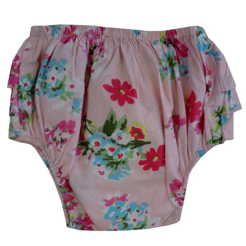 """Pink Floral"" Frilly Nickers-Children's Clothing-PC-Powell Craft Uk-One Size 0-12 months-Putti Fine Furnishings"