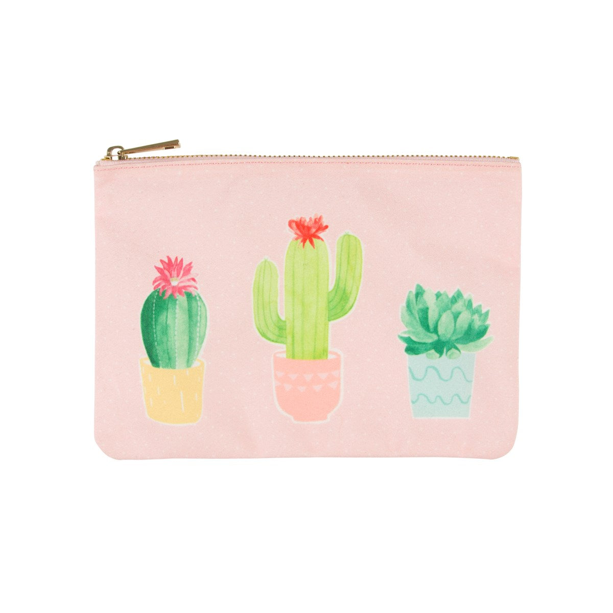 Pastel Cactus Zippered Pouch, RJBS-RJB Stone, Putti Fine Furnishings
