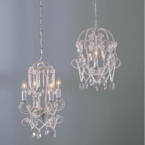 Miniature Beaded Chandelier - White