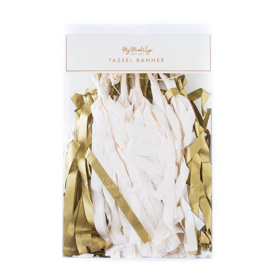 Fancy Metallic Gold and Ivory Tassel Banner -  Party Supplies - My Mind's Eye - Putti Fine Furnishings Toronto Canada - 1