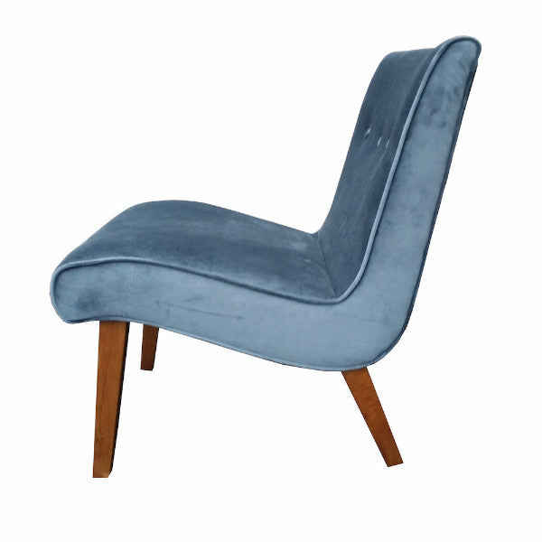 """Fifi"" Chair - Cadet Blue Velvet"