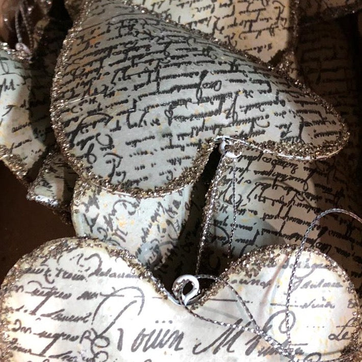 Antique Manuscript Heart Ornament