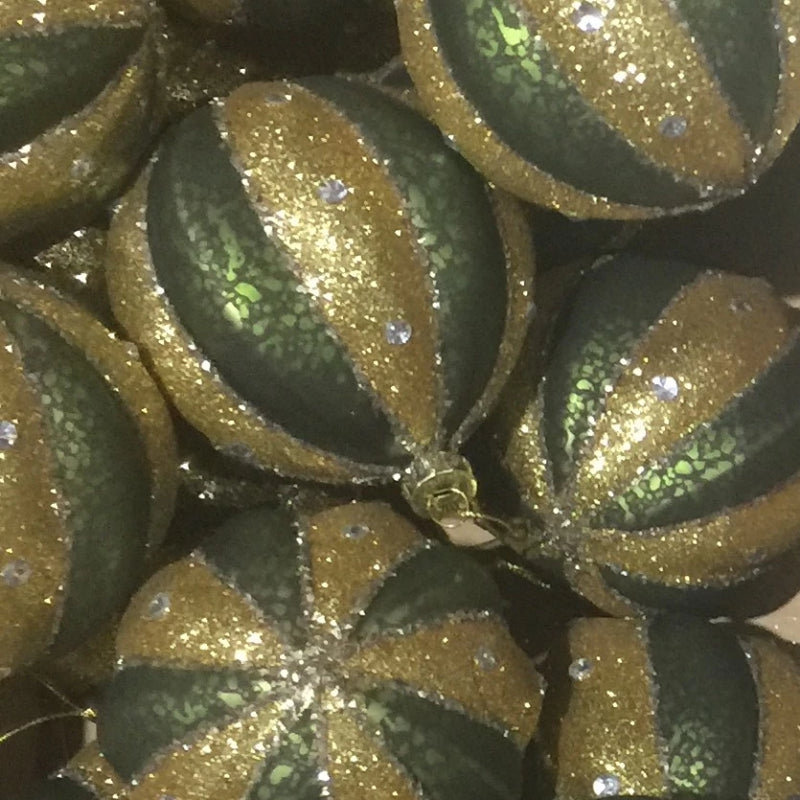 Green and gold Moulded Glass Ball Ornament