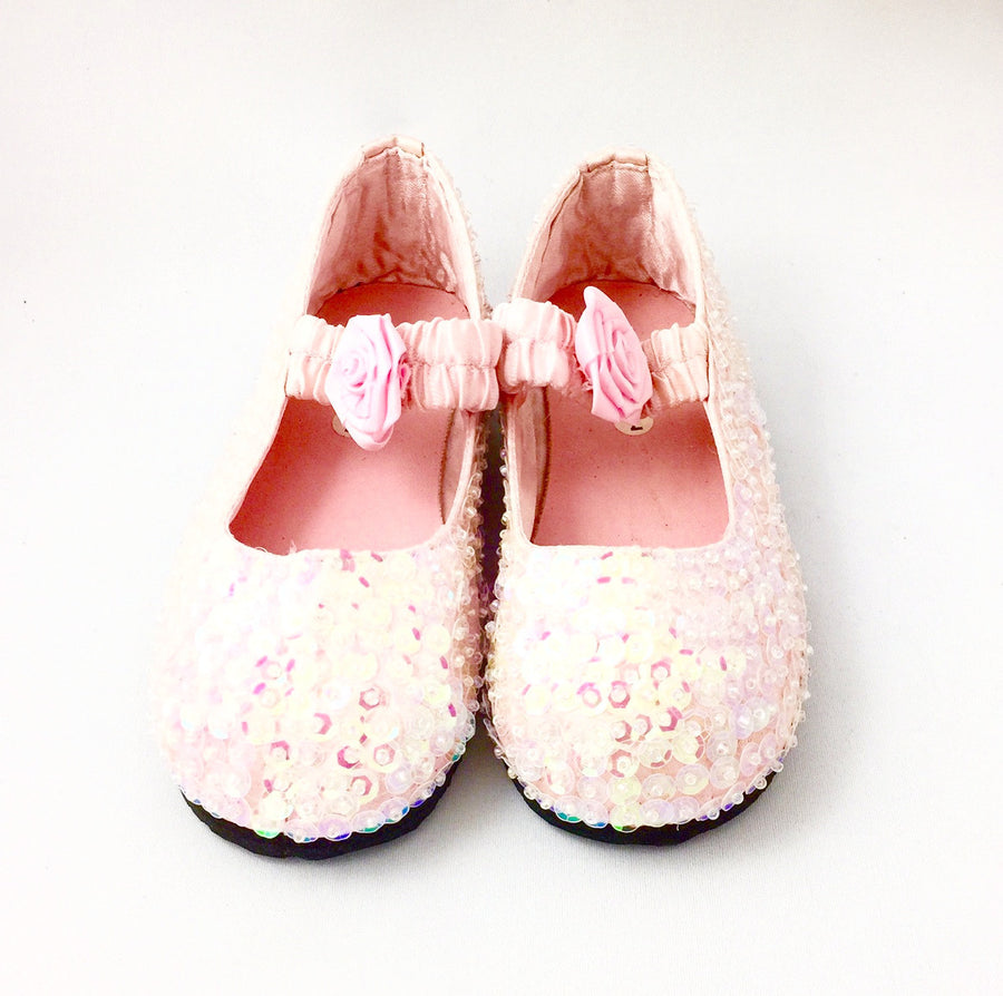 Pale Pink Sparkly Sequin Shoes, Forever Passion, Putti Fine Furnishings