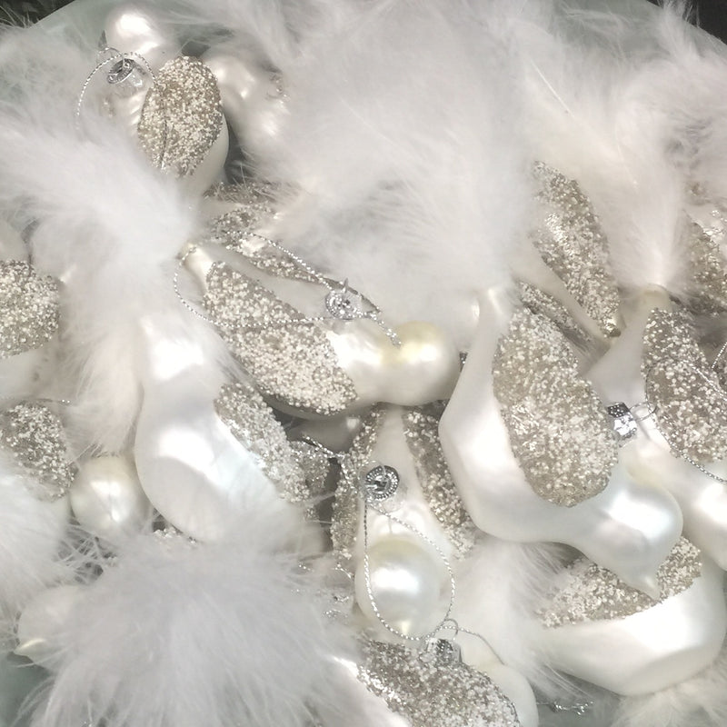 White Glass Glitter Birds with Feather Tails