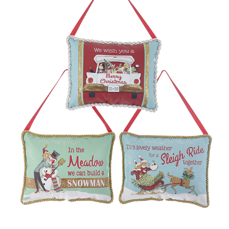 Kurt Adler Winter Scene Retro Door Hanger Ornaments | Putti Christmas