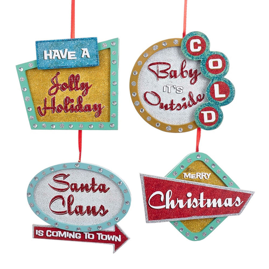 Kurt Adler Wooden Christmas Sign Ornaments