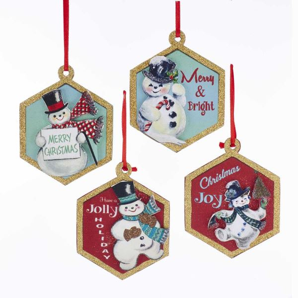 Kurt Adler Retro Snowman with Sayings Ornaments