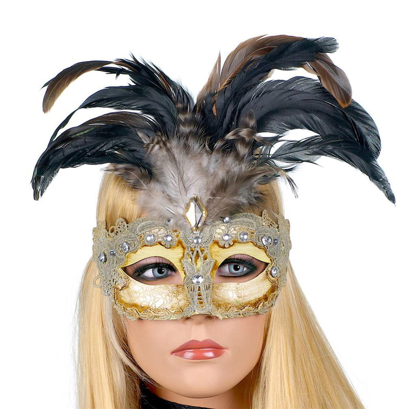 Gilded Venetian Mask with Feathers, CT-Christmas Tradition, Putti Fine Furnishings