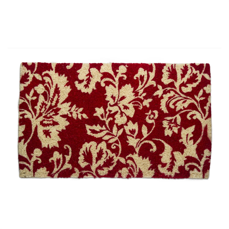 Isabella Red Damask Coir Doormat | Putti Christmas Celebrations Canada