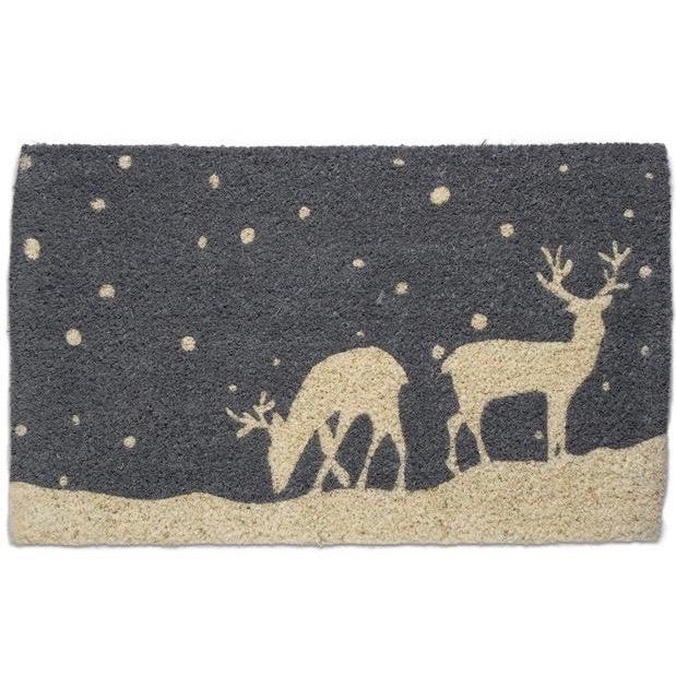 Tag Ltd Falling Snow Reindeer Coir Doormat | Putti Christmas
