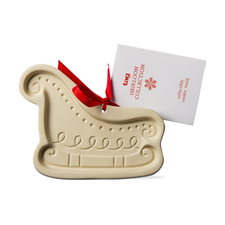 Stoneware Sleigh Cookie Mold | Putti Christmas Baking