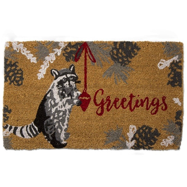 "Tag Ltd. Winter Raccoon ""Greetings"" Coir Doormat 