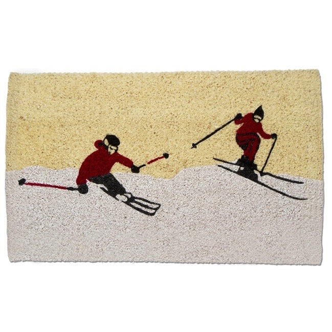 Winter Skiers Coir Doormat