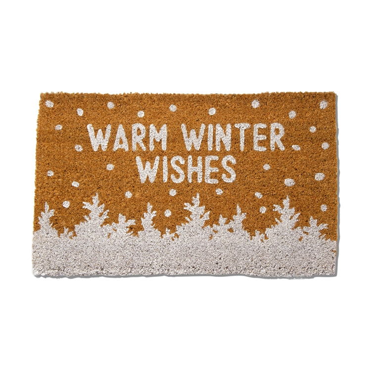 """Warm Winter Wishes"" Trees with Snow Coir Doormat 