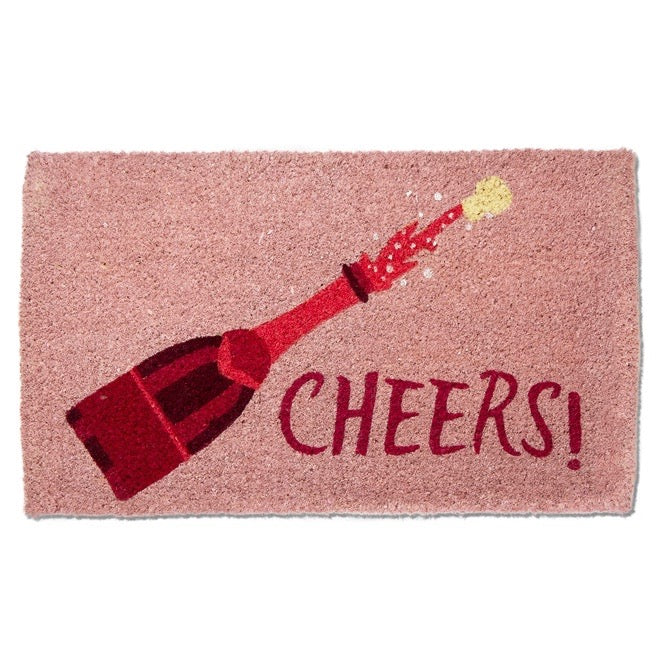 "Tag Ltd. ""Cheers"" Pink Champagne Coir Doormat 