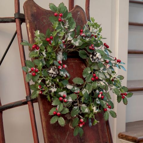 Glittered Holly Berry and Pinecone Small Wreath