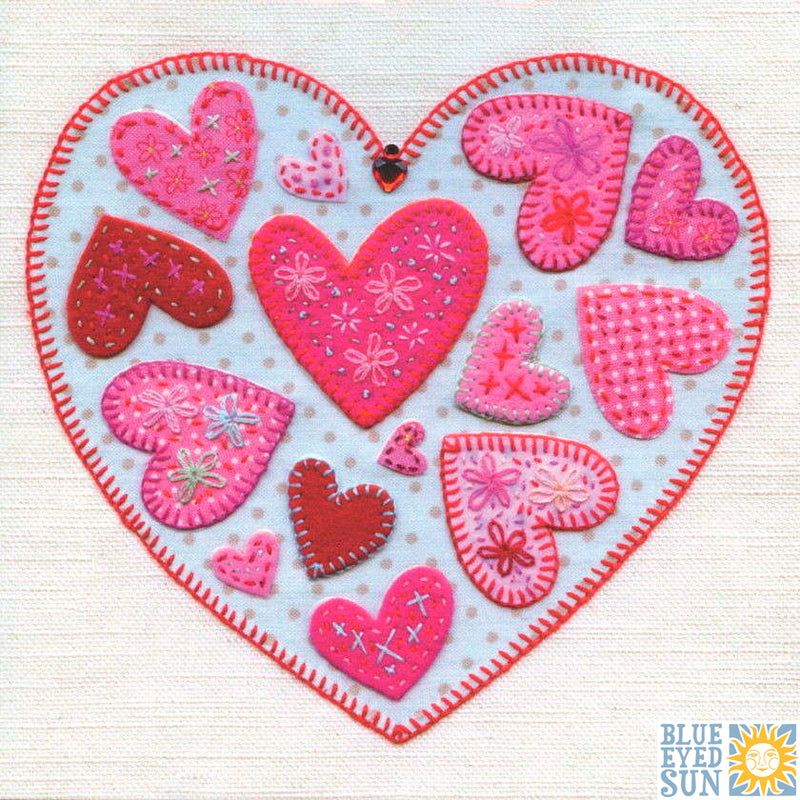 Blue Eyed Sun | Quilted Heart Greeting Card | Putti