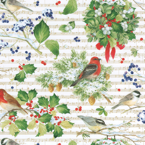 Caspari Winter Song Christmas Wrapping Paper Roll | Putti Celebrations