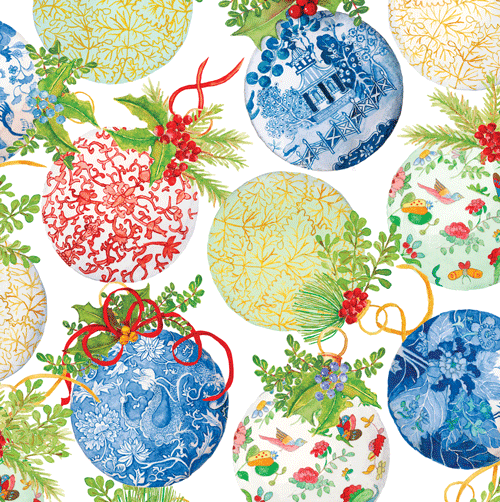 Caspari Porcelain Ornaments Christmas Wrapping Paper Roll | Putti