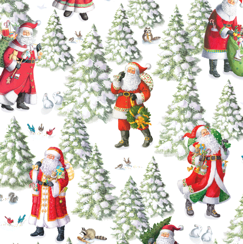 Caspari Woodland Santa Christmas Wrapping Paper Roll | Putti Celebrations