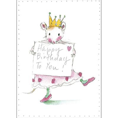 "Mouse with Crown : Happy Birthday to You"" Greeting Card, Bella Flor, Putti Fine Furnishings"