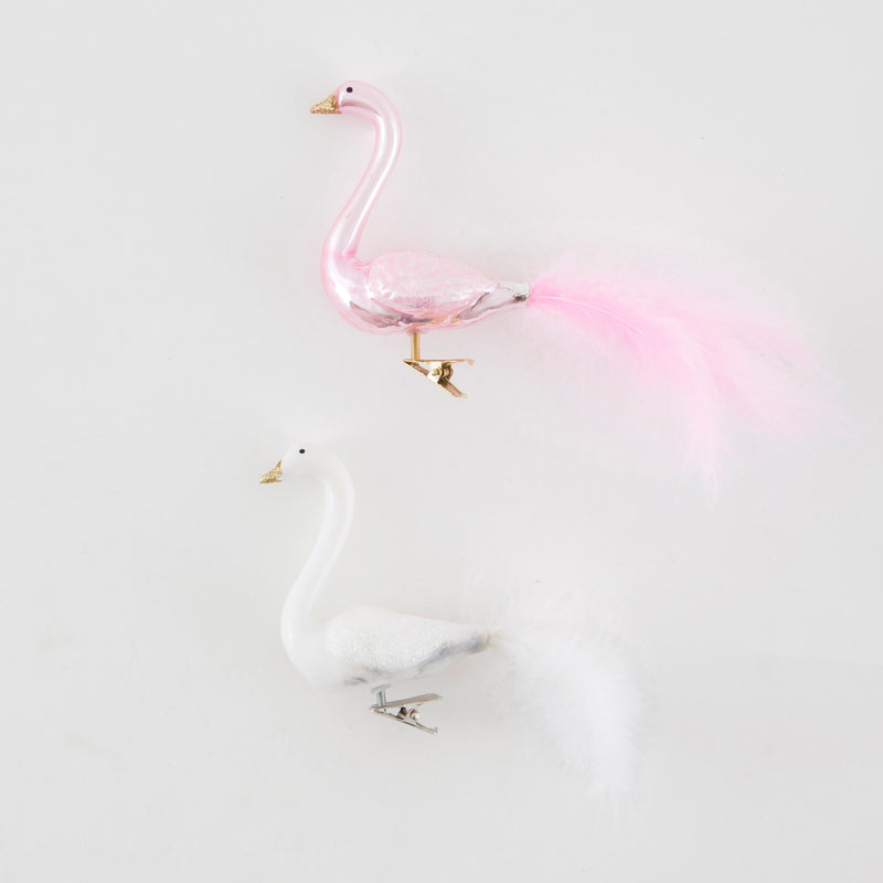 Pink and White Fluffy Feathers Swan Clip Ornaments | Putti Christmas Decorations Canada
