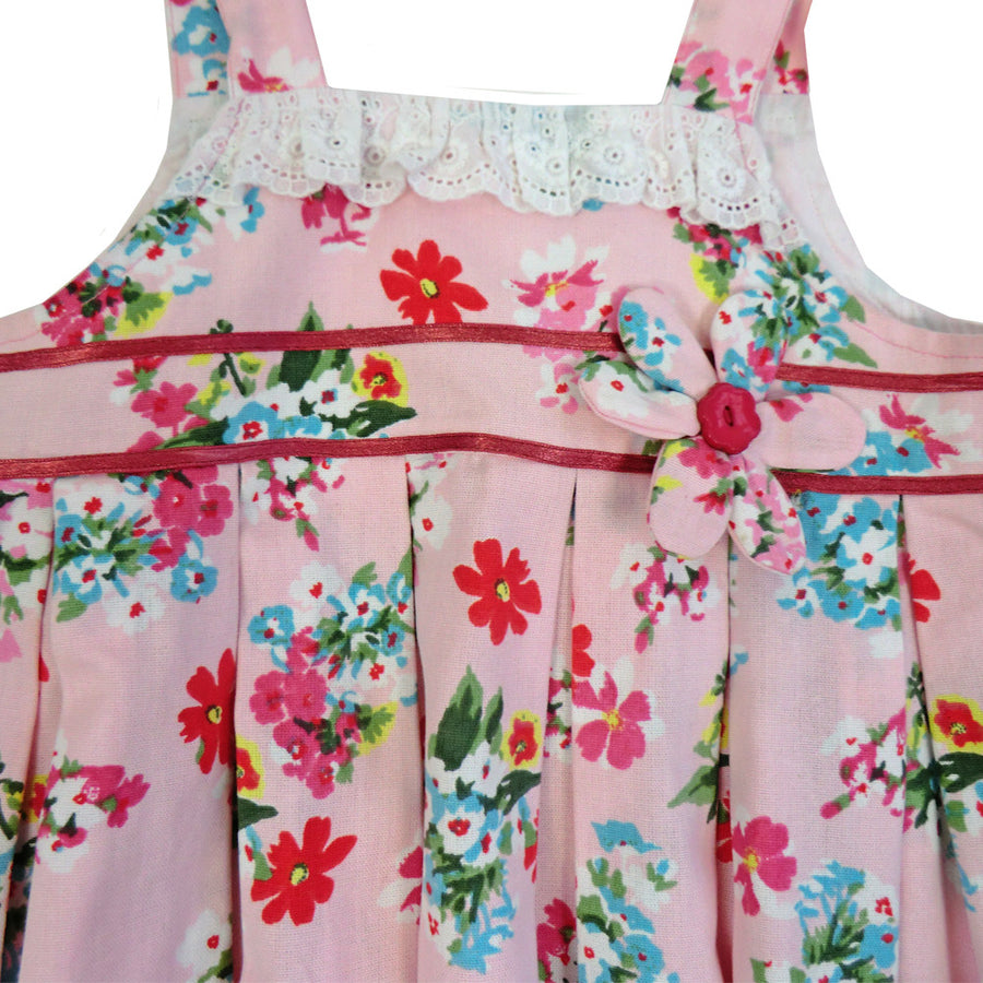 """Pink Floral"" Dress with Lace Trim, PC-Powell Craft Uk, Putti Fine Furnishings"