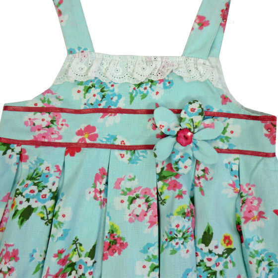 """Blue Floral"" Dress with Lace Trim"